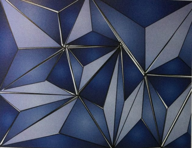 """3-dimensional blue drawing titled """"OP Art Triangles"""""""